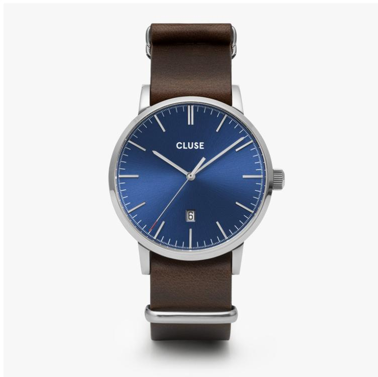 Uhr Cluse Aravis silver dark blue/dark brown