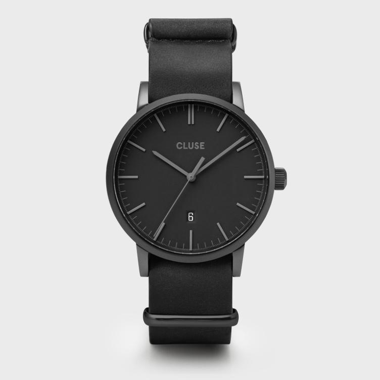 Uhr Cluse Aravis leather black/black