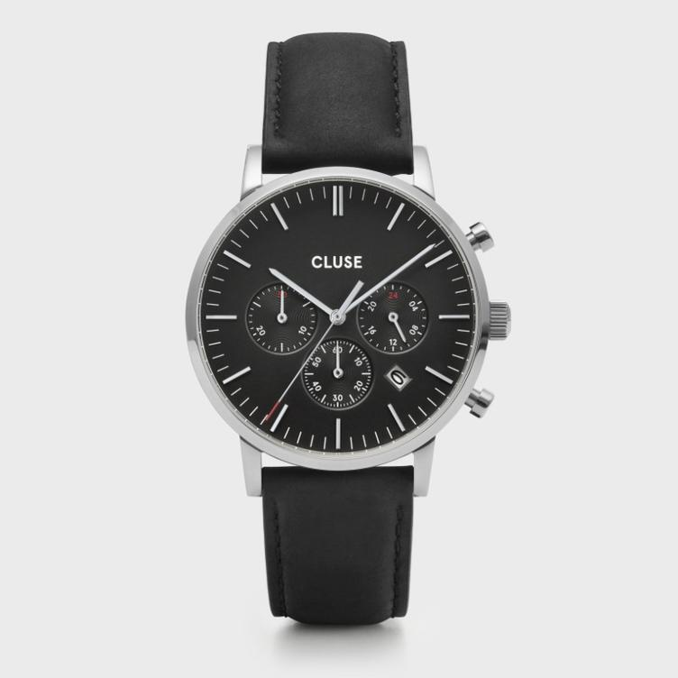 Uhr Cluse Aravis chrono leather silver black/black
