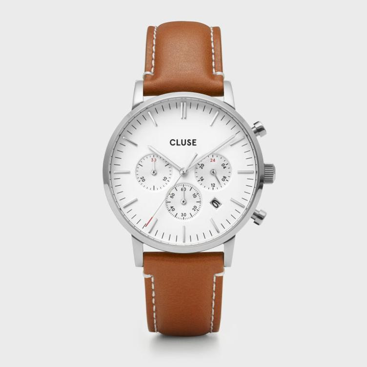Uhr Cluse Aravis chrono leather silver white/light brown