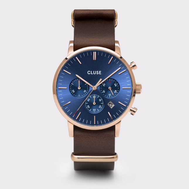 Uhr Cluse Aravis Chrono Nato Leather Rosegold, dark blue/dark brown