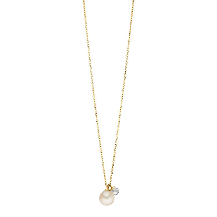 Collier gold Two Drops Perle mit Bergkristall