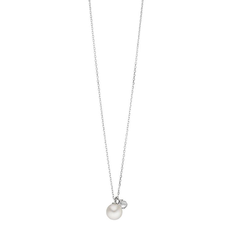 Collier silber Two Drops Perle mit Bergkristall