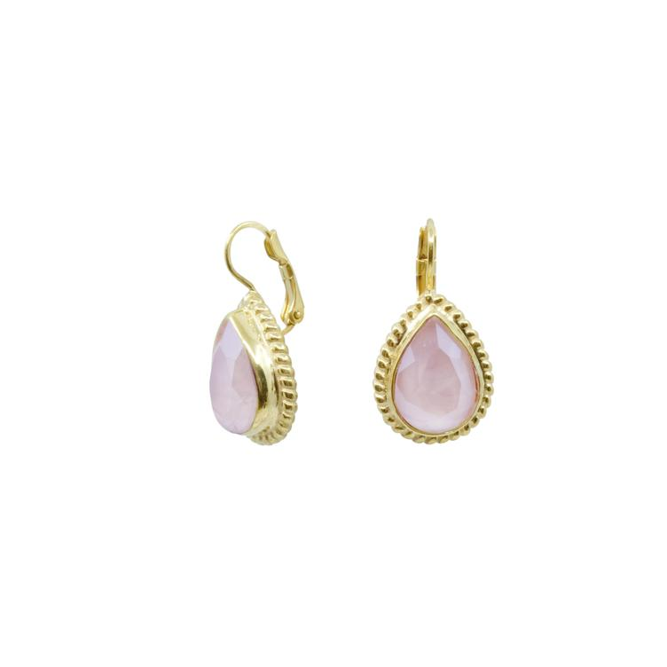 Ohrring gold Love Tropfen rosa